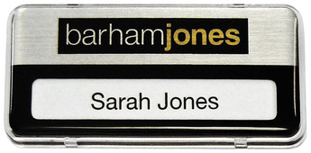 Reusable Name Badges - Clear border and brushed silver / black background | www.namebadgesinternational.ca